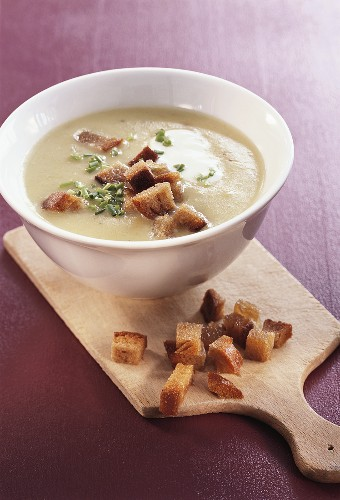 Cream of potato soup with croutons