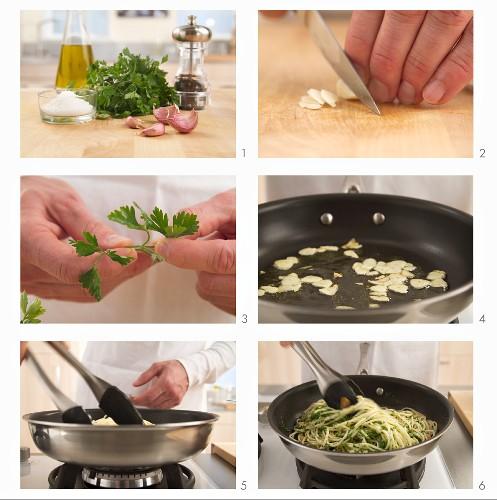 Pasta aglio e olio being prepared