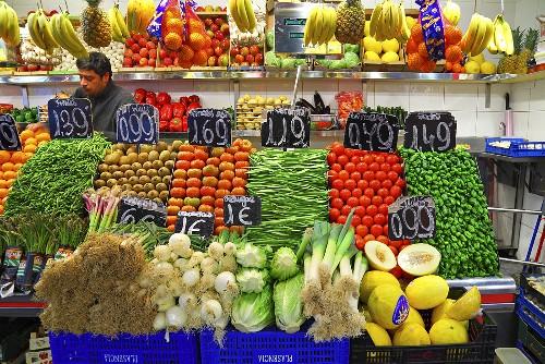 A market stall with fruit and vegetables (Mercat de St. Josep (Boqueria), Las Ramblas, Barcelona, Spain)