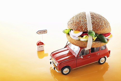 Pan bagnat (egg salad sandwich from Nice) on toy car