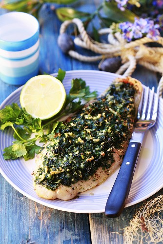 Pangasius fillet with fresh herbs