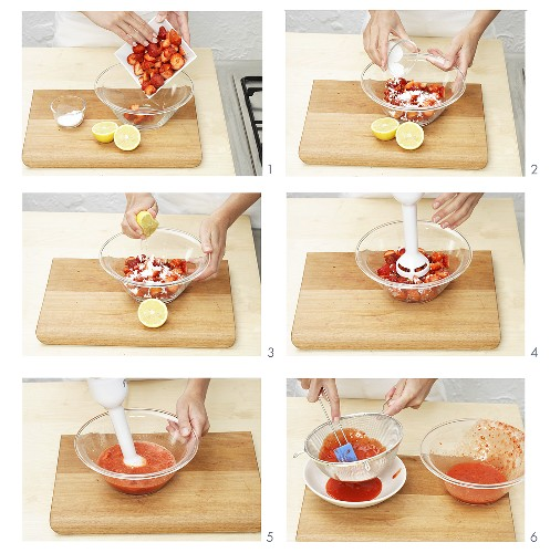 Making strawberry puree