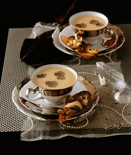 Parmesan soup with truffles, crostini & king oyster mushrooms