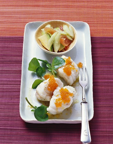 Steamed monkfish with tobikko and avocado & cucumber salad