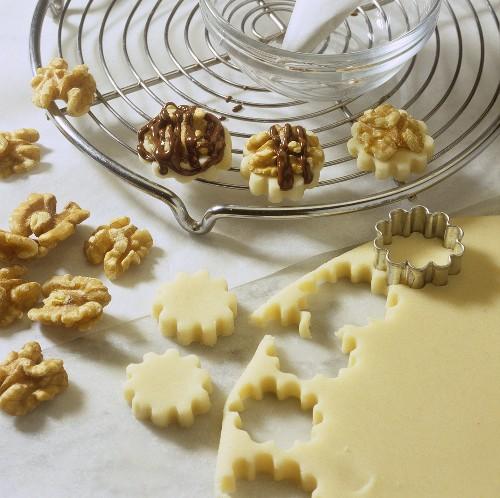 Making marzipan walnut sweets