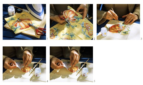 Applying picture to table cloth using serviette technique