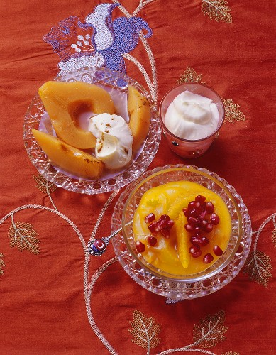 Stewed quinces and orange cream with pomegranate (Turkey)