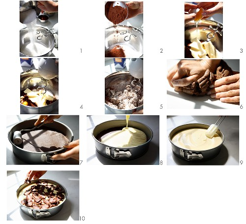 Making a Russian chocolate cheesecake