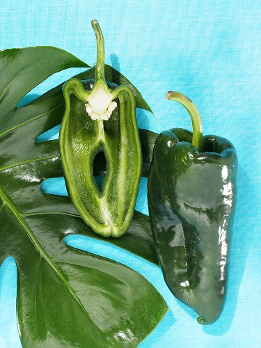 One half and one whole poblano
