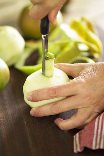 Coring an apple