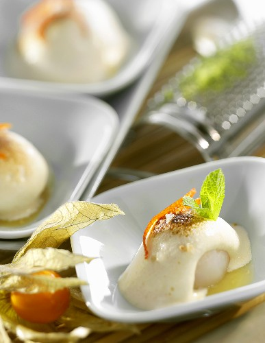 Lychees with praline and lime pesto