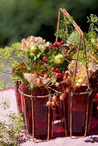 Guelder rose berries, dahlias and dill in glasses