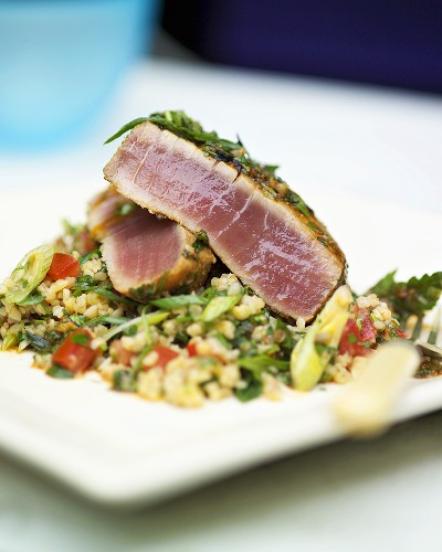 Marinated tuna on tabbouleh