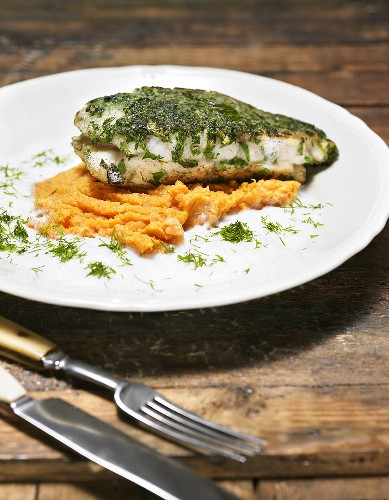 Wels catfish fillet on a bed of sweet mashed potatoes