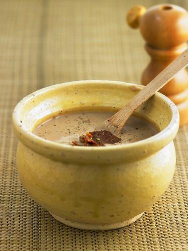 Vellutata di castagne (Cream of chestnut soup with coppa)