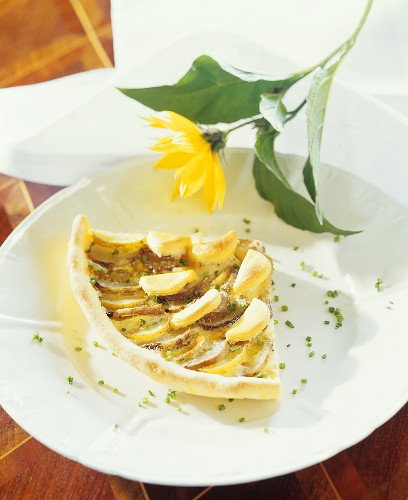 A piece of Jerusalem artichoke quiche