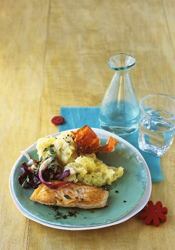 Fried salmon with radicchio and potato & apple mash