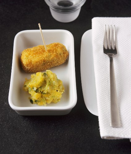 Side dish: potato croquette and vegetable puree