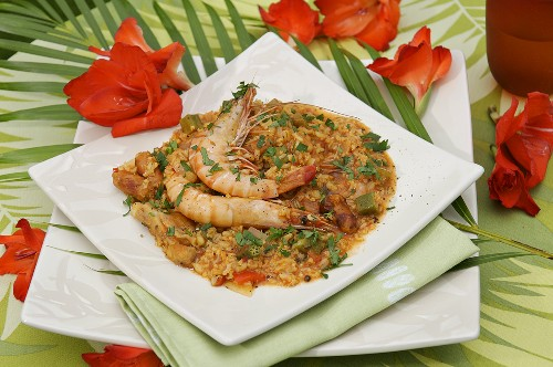 Jambalaya (Prawns on rice, Caribbean)