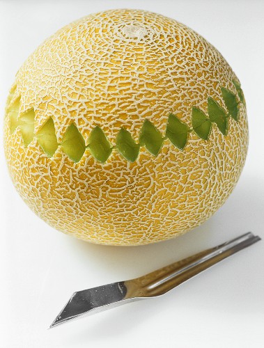 A carved netted melon