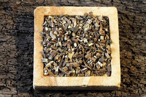 Patchouli herb on a stone slab
