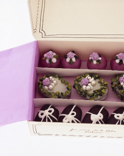 Richly decorated chocolates in a gift box