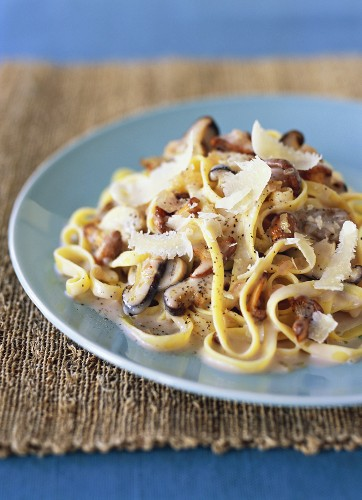 Linguine with mushroom sauce and Parmesan shavings