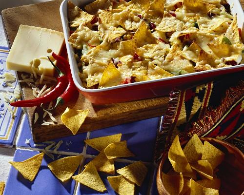 Mexican-style vegetable gratin with tortilla chips