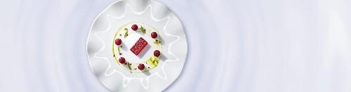 Raspberry jelly with mint pesto (molecular gastronomy)