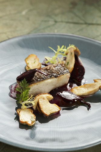 Fried catfish with ceps and beetroot vinaigrette