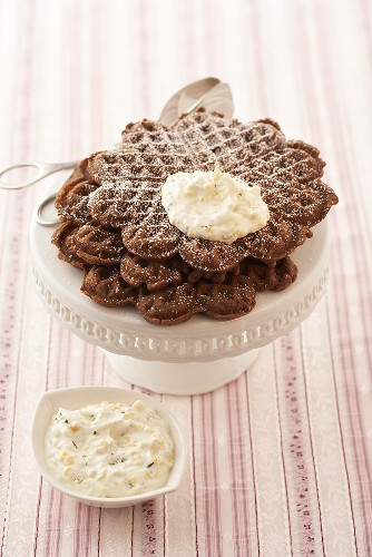 Rum and chocolate waffles with peach quark