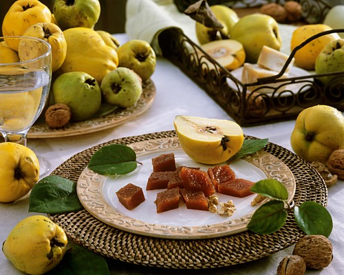 Quince paste, pear quinces and walnuts