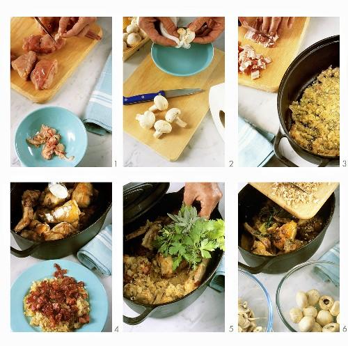Preparing rabbit with onions & mushrooms in cast-iron pot