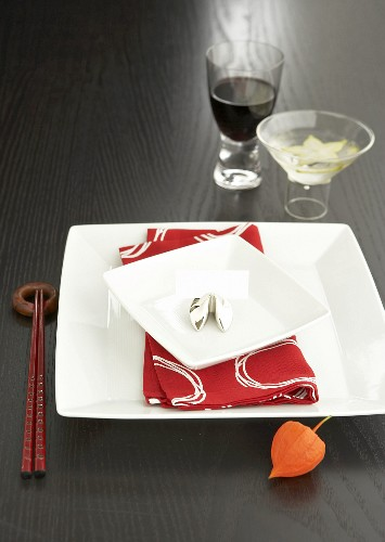 A place-setting with aperitif