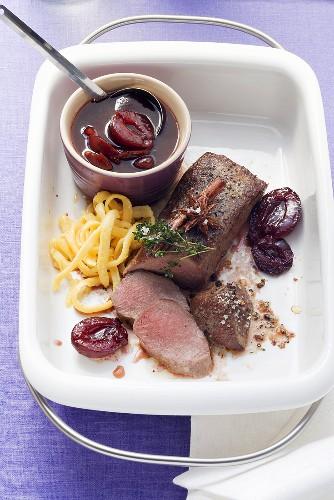 Boneless loin of venison with plums and spaetzle noodles