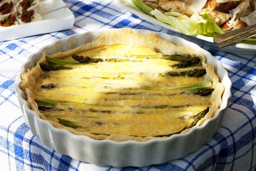 Asparagus tart in baking dish