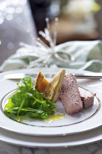 Chicken liver pate with flat bread and salad