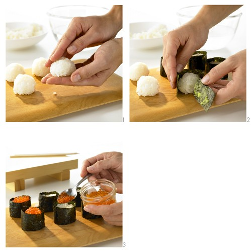 Making gunkan maki with salmon caviar