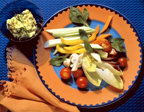 Raw Vegetables on a Plate; Dip