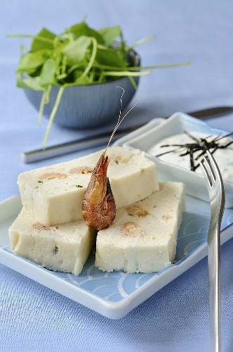 Hake terrine with prawns and wasabi cream
