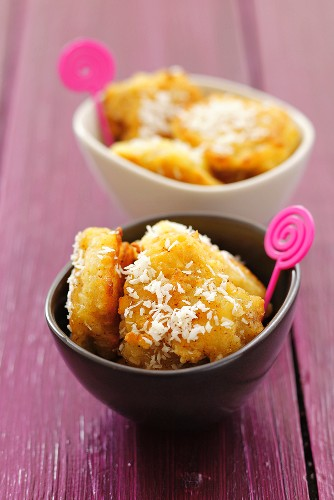 Banana fritters in coconut batter