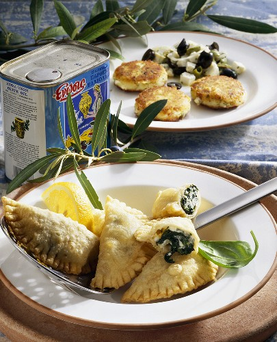 Spinach and feta pasties and potato cakes