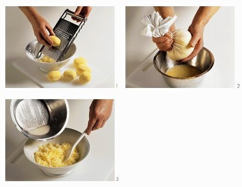 Making dumpling mixture (Thuringian dumplings)