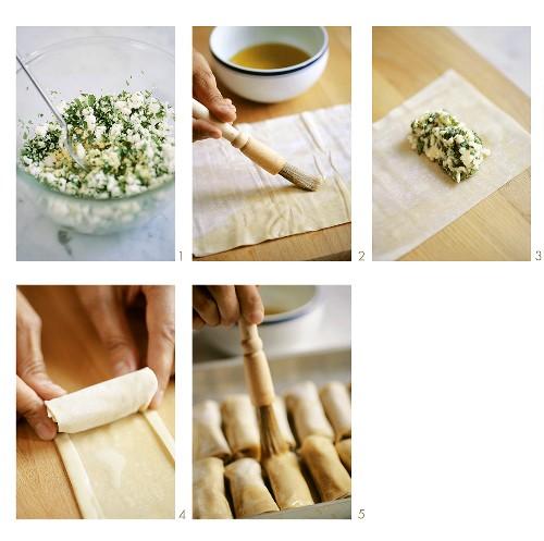 Making sigara böregi (Yufka rolls with sheep's cheese filling, Turkey)