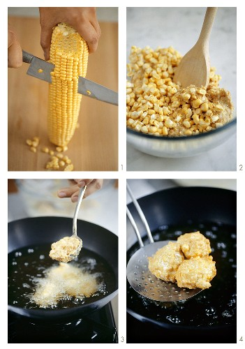 Making fried corn cakes (Thailand)