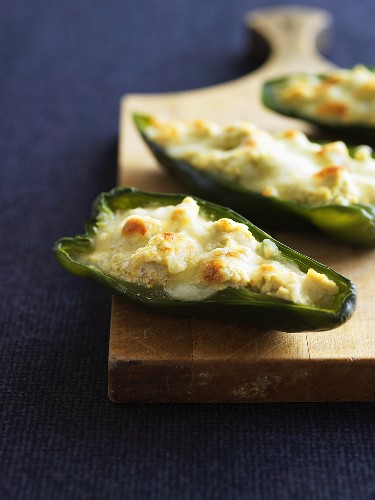 Baked green chillies with tofu and cheese stuffing