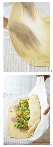 Making spring vegetable strudel