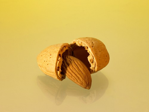 An almond, cracked open