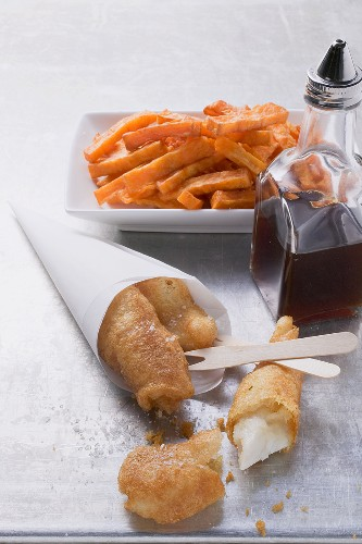 Pangasius with sweet potato chips