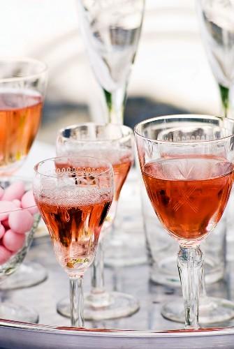 Glasses of rose wine